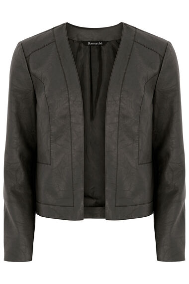 Collarless PU Jacket