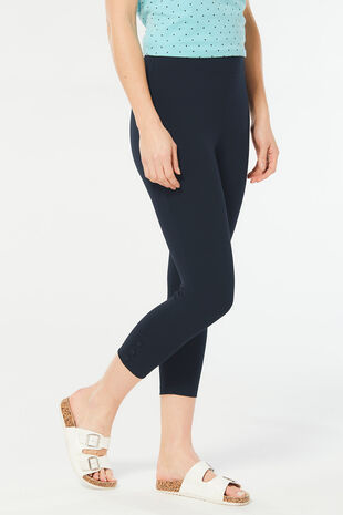 Crop Button Hem Legging