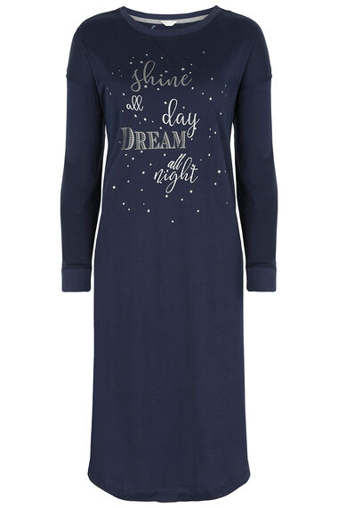 Long Sleeve Slogan Nightdress