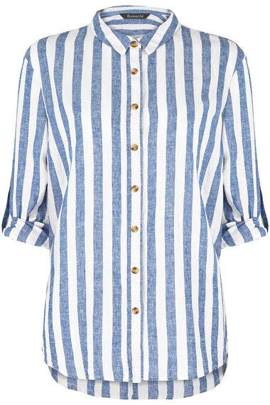 Long Sleeve Blue and White Stripe Linen Blend Shirt