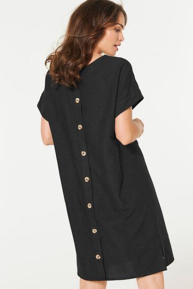 Button Back Linen Blend Dress