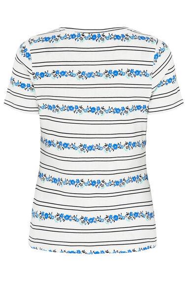 Scoop Neck Floral Stripe T-Shirt