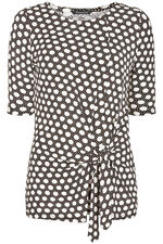Abstract Spot Print Jersey Top With Side Tie