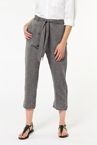 Mini Stripe Linen Blend Crop Trouser