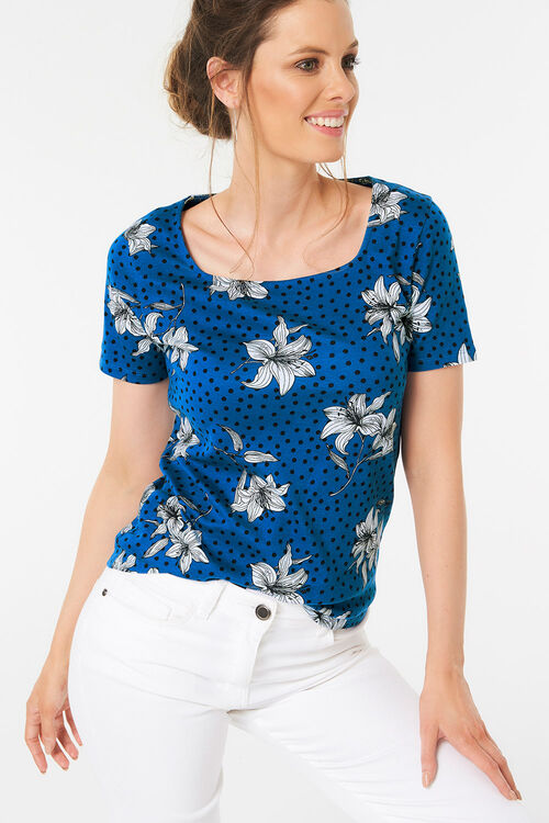 Lily Print Square Neck T-Shirt