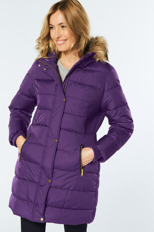 Longline Padded Coat with Faux Fur Trim
