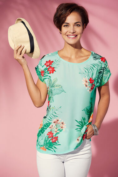 Floral Mirror Print Woven Front  T-Shirt