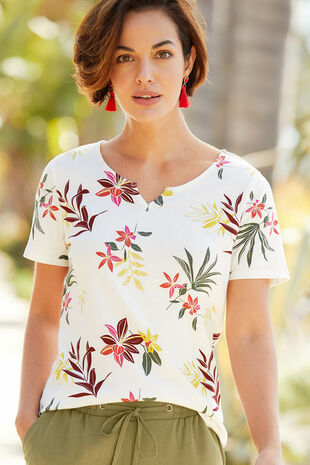 Notch Neck Tropical Print T-Shirt