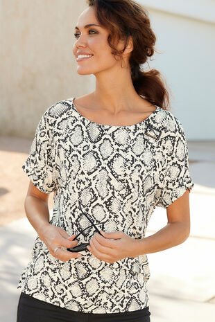 Short Sleeve Snake Print Buckle Detail Top