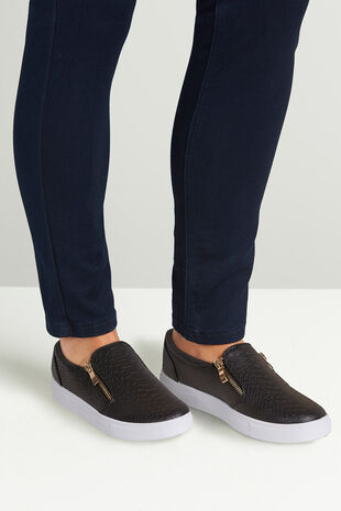 Krush Mock Croc Slip On with Zip Detail