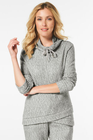 Textured Cowl Neck Sweat