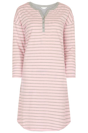 Stripe Button Placket Nightdress