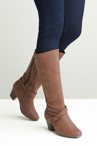 Comfort Plus Cross Detail Knee High Boot