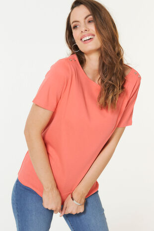 Boat Neck Basic T-shirt