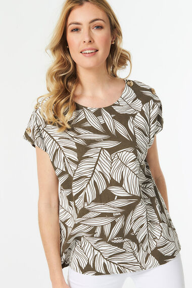 Short Sleeve Leaf Print Linen Blend Shell Top