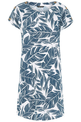 Palm Print Linen Blend Dress