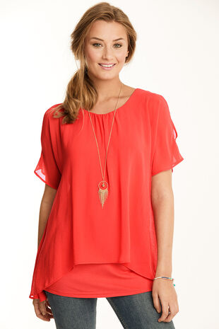 Split Sleeve Double Layer Top with Necklace