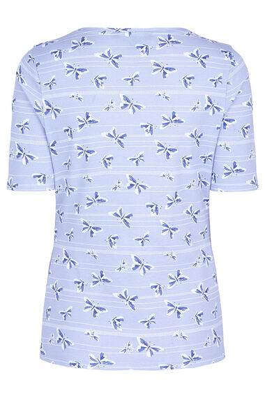Half Sleeve Scoop Neck Butterfly Print T-Shirt