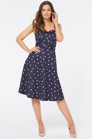 Spot Print Sleeveless Prom Dress
