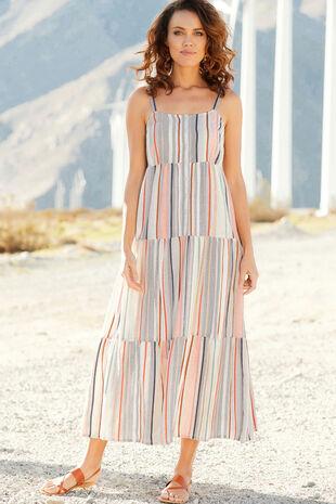 Sleeveless Stripe Tiered Maxi Dress