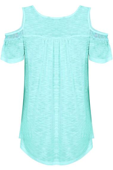 Cold Shoulder Top With Lace Neckline