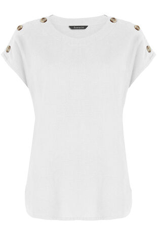 Short Sleeve Plain Linen Blend Shell