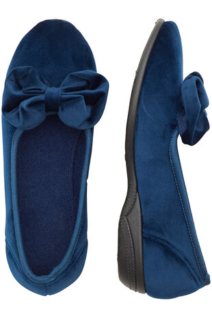 Navy Bow Ballerina Slipper