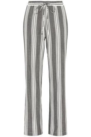 Stripe Linen Look Wide Leg Trousers