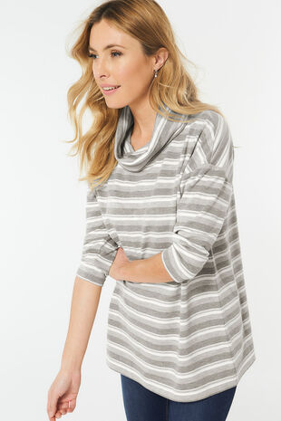 Stripe Cowl Neck Sweat