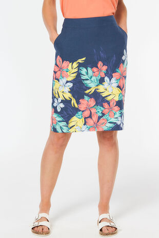 Linen Blend Border Skirt