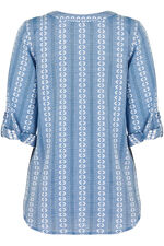 3/4 Sleeve Embroidered Smock Blouse