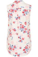 Floral Print Linen Blend Sleeveless Shirt