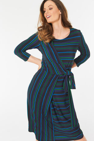 Thin Stripe Wrap Dress