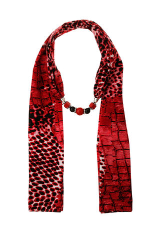 Muse Red Printed Jewellery Scarf
