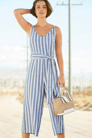 87e9045040 Striped Linen Blend Jumpsuit