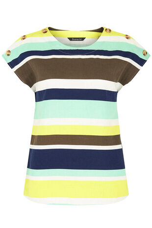 Short Sleeve Stripe Linen Shell Top