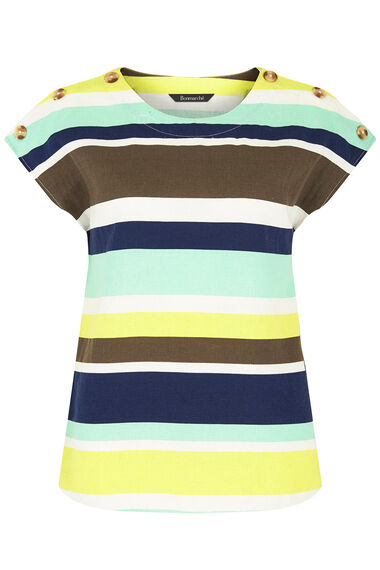 Short Sleeve Stripe Linen Shell Top