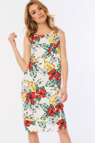 Tropical Print Linen Blend Dress