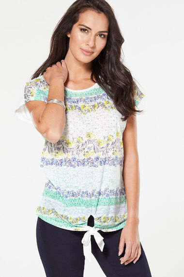 Printed Floral Burnout T-Shirt with Tie Hem