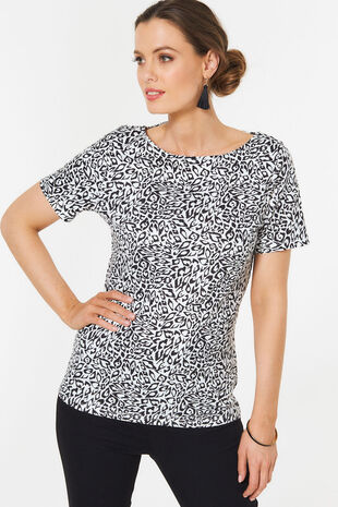 Boat Neck Animal Print T-Shirt