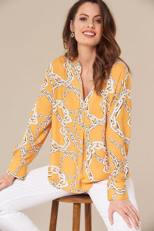 Grace By Eda Chain Print Blouse