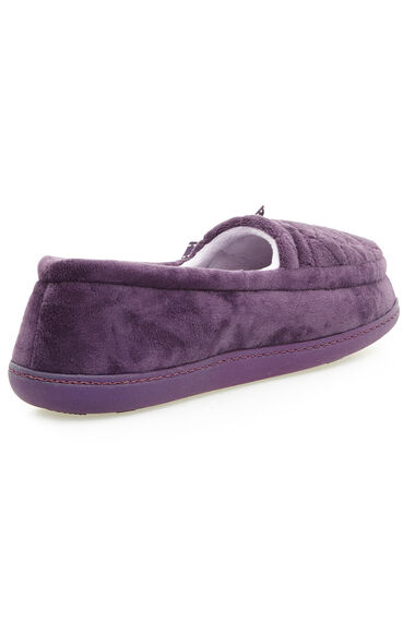 Quilted Velour Moccasin Slipper