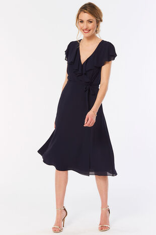 Short Sleeve Plain Frill Wrap Dress