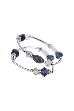 Muse Mixed Bead Blue Bracelet