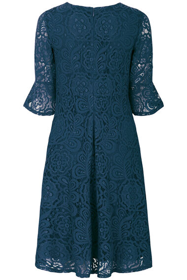 Flute Lace Sleeve Fit and Flare Dress