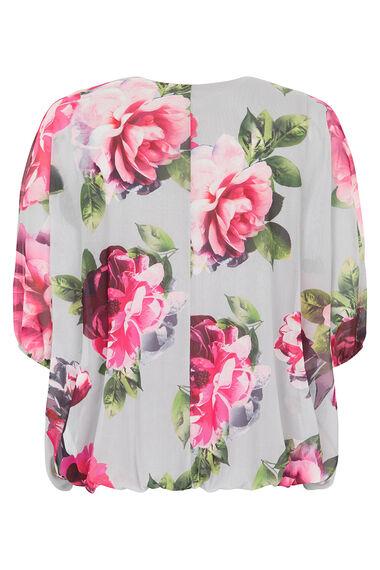 Large Floral Printed Mesh Blouson Top