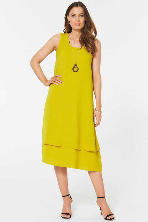 Sleeveless Twill Double Layer Dress