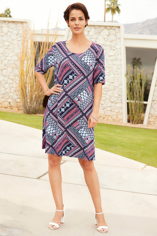 Patchwork Printed Swing Dress