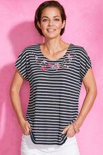 Stripe T-Shirt with Embroidered Neckline