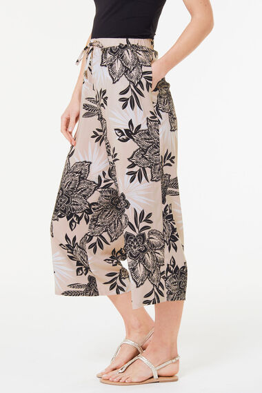 Floral Spun Viscose Wide Leg Crop Trouser